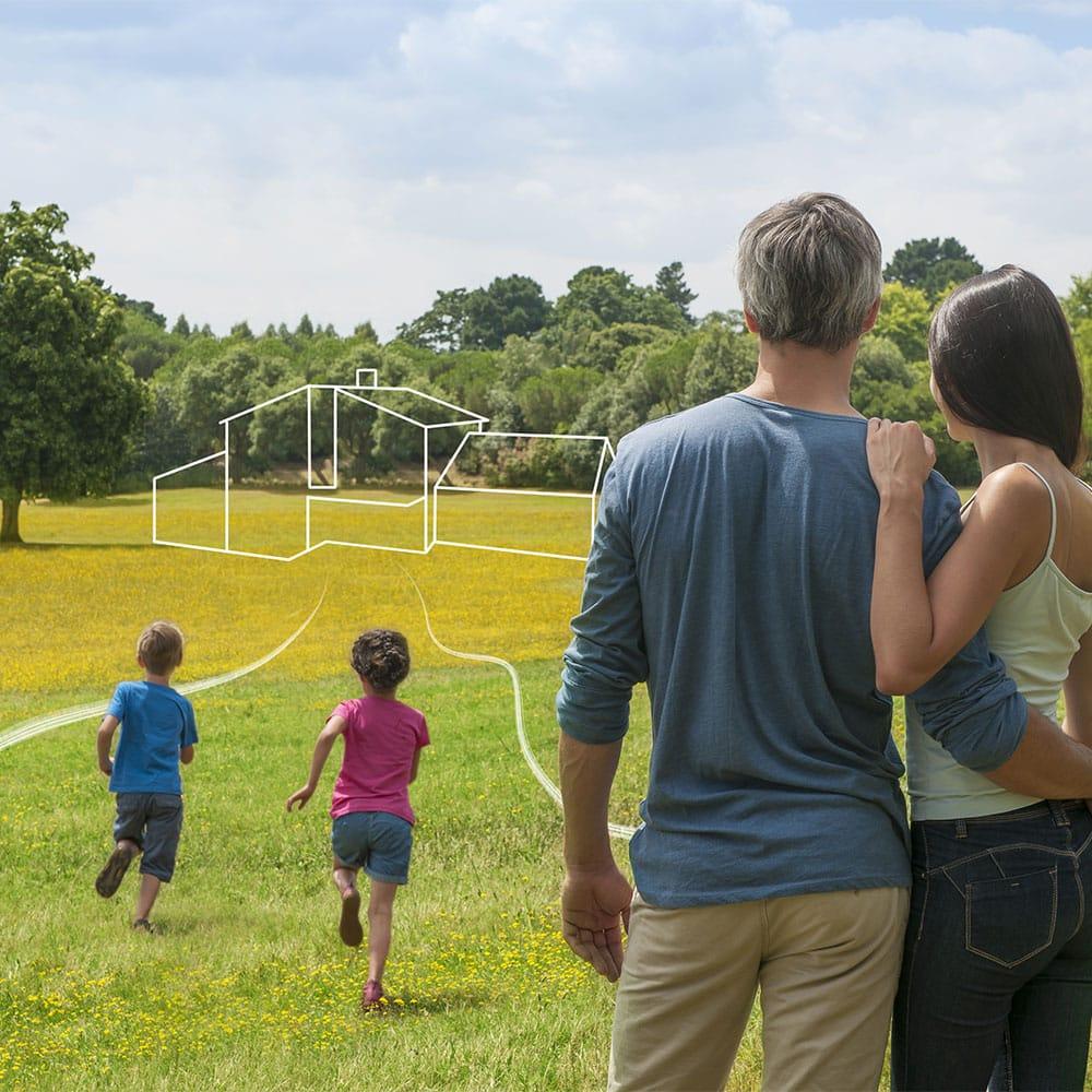 familie im grünen traum vom haus vision eigentraum