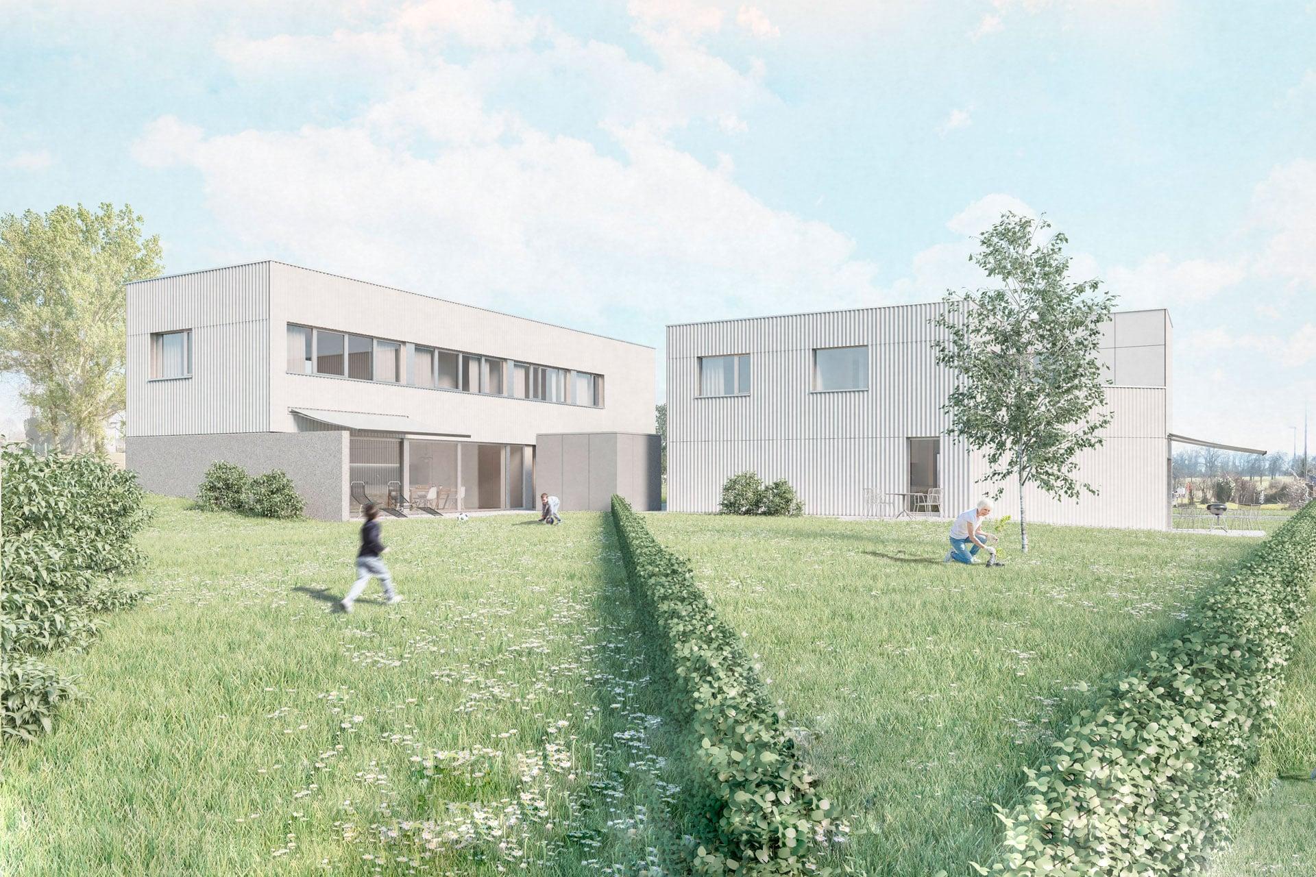 Einfamilienhaus Birwinken Aussen Gartenansicht eigentraum.ch